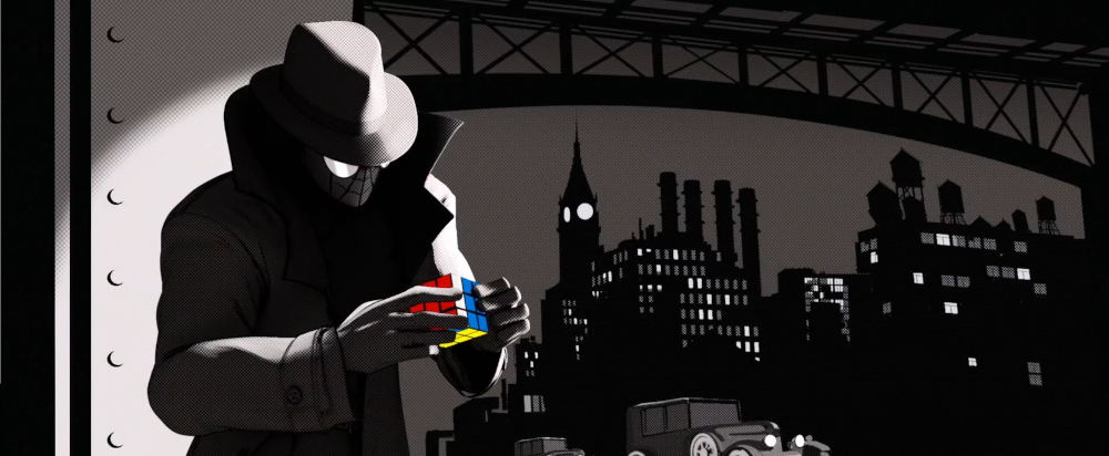 Screencap of Spider-Man Noir solving the cube in Spider-Man: Into the Spider-Verse